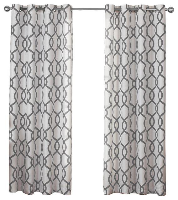 Kochi Grommet Top Window Curtain Panels, Set Of 2/pair Panels, Black Pearl Regarding Kochi Linen Blend Window Grommet Top Curtain Panel Pairs (Image 15 of 25)