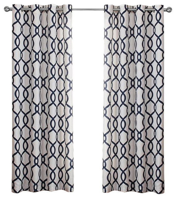 "Kochi Linen Blend Grommet Top Curtains, Indigo, 54""x108"", Set Of 2 With Kochi Linen Blend Window Grommet Top Curtain Panel Pairs (View 14 of 25)"