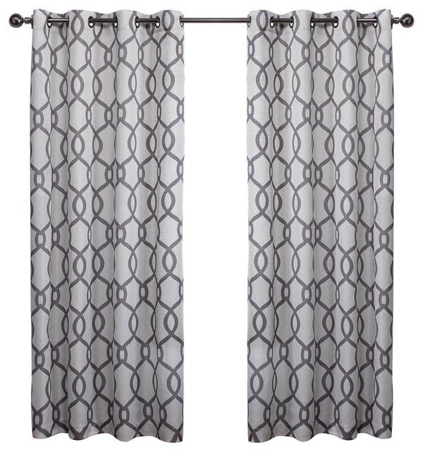 Kochi Linen Blend Grommet Top Window Curtain Panel Pair, 54X108, Black Pearl Intended For Kochi Linen Blend Window Grommet Top Curtain Panel Pairs (Image 19 of 25)