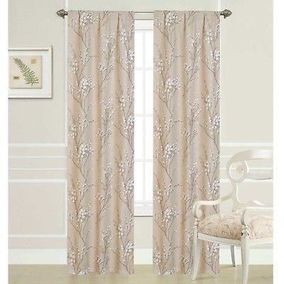 "Laura Ashley Pussy Willow Rod Pocket Panel Pair – Two 40"" X 84"" Panels 