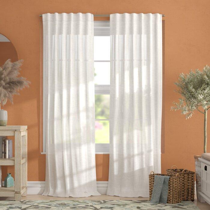 Leon Solid Sheer Tab Top Curtain Panels Throughout Vue Elements Priya Tab Top Window Curtains (Image 15 of 25)