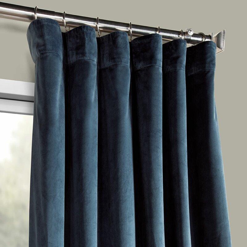 Livia Riverton Solid Heritage Plush Velvet Rod Pocket Single Curtain Panel For Heritage Plush Velvet Single Curtain Panels (Image 11 of 25)