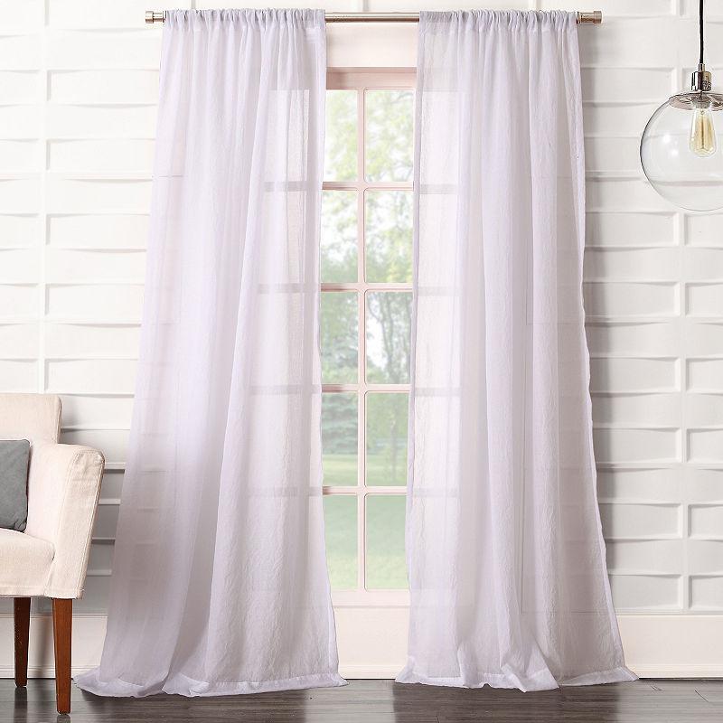 Lola Solid Rod Pocket Sheer Curtain Panel | Products | Sheer Inside Vue Elements Priya Tab Top Window Curtains (Image 16 of 25)