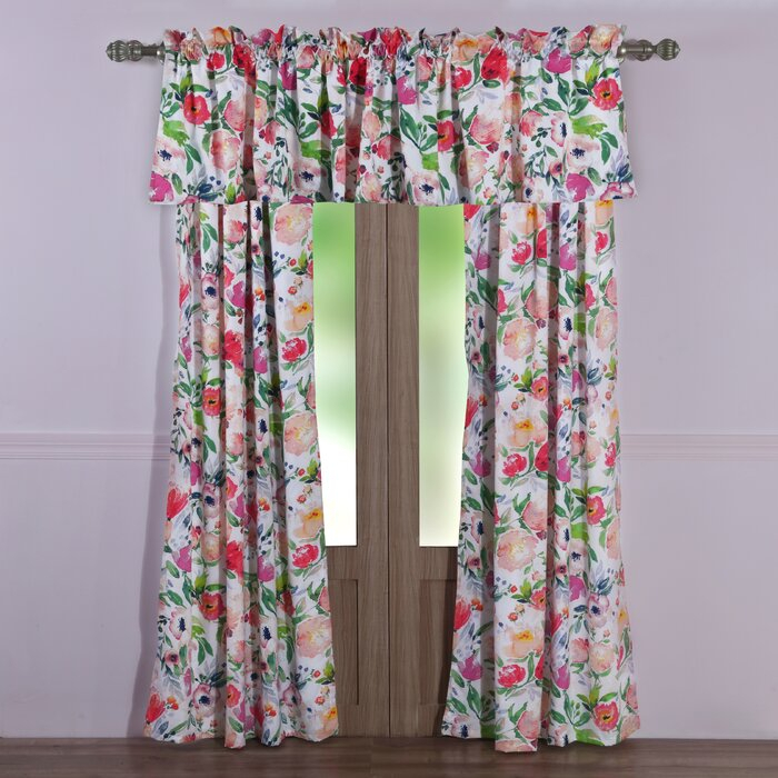 Ludington Floral Semi Sheer Rod Pocket Curtain Panels For Dolores Room Darkening Floral Curtain Panel Pairs (Image 10 of 25)