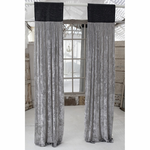 Luscious Platinum Silk Velvet Window Panel With Slate Grey Jute Header In Velvet Dream Silver Curtain Panel Pairs (Image 9 of 25)