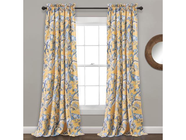 "Lush Decor Dolores Room Darkening Window Curtain Panel Pair, 120"" X 52"" +  2"" Header, Yellow – Newegg Inside Dolores Room Darkening Floral Curtain Panel Pairs (Image 11 of 25)"