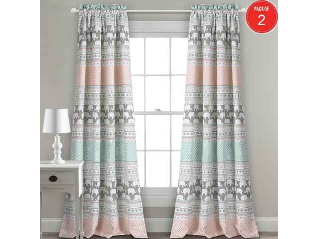 "Lush Decor Elephant Stripe Room Darkening Window Curtain Panel Pair, 84"" X  52"" + 2"" Header, Turquoise And Pink (Set Of 2) – Newegg Throughout Weeping Flowers Room Darkening Curtain Panel Pairs (Image 12 of 25)"