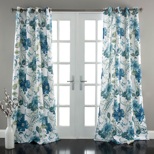 Lush Decor Floral Paisley Blue 84 X 52 Inch Curtain Panel Pair For Dolores Room Darkening Floral Curtain Panel Pairs (Image 13 of 25)