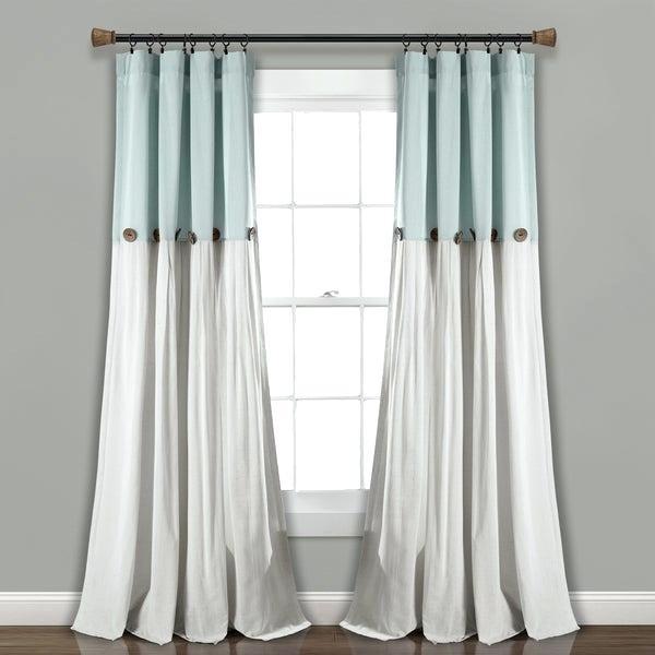Lush Decor Linen Button Window Curtain Single Panel Color Regarding Vertical Colorblock Panama Curtains (Image 19 of 25)
