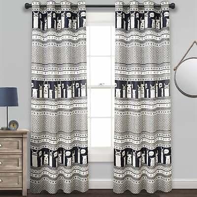 Lush Decor Llama Stripe Room Darkening Window Curtain Panel | Ebay Throughout Julia Striped Room Darkening Window Curtain Panel Pairs (Image 16 of 25)