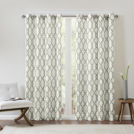 "Madison Park Bond Fretwork Window Panel Curtain – Gray/beige/50"" X 63"" Throughout Whitman Curtain Panel Pairs (Image 10 of 25)"