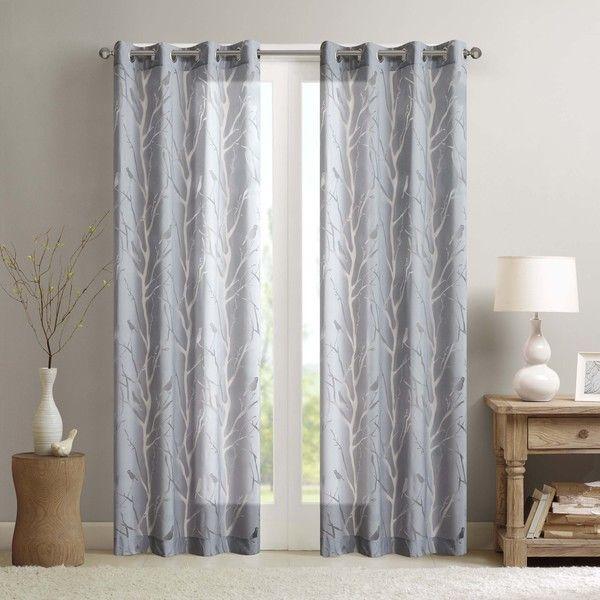 Madison Park Vina Sheer Bird Curtain Panel | Curtains/shades For Vina Sheer Bird Single Curtain Panels (Image 11 of 25)