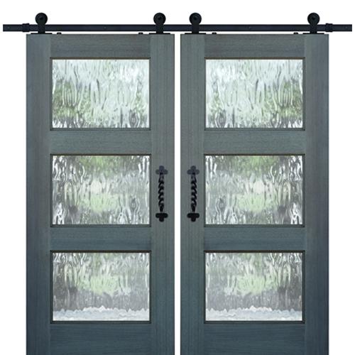 Mahogany Continental 3 Lite Barn Door 2 With The Gray Barn Gila Curtain Panel Pairs (Image 12 of 25)