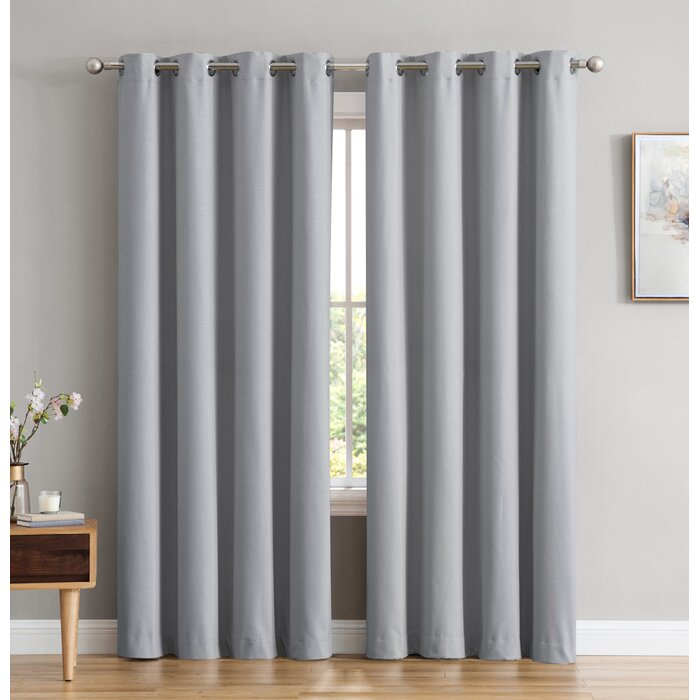 Marin Textured Under Energy Efficient Solid Color Max Blackout Thermal  Grommet Curtain Panels With Duran Thermal Insulated Blackout Grommet Curtain Panels (Image 14 of 25)