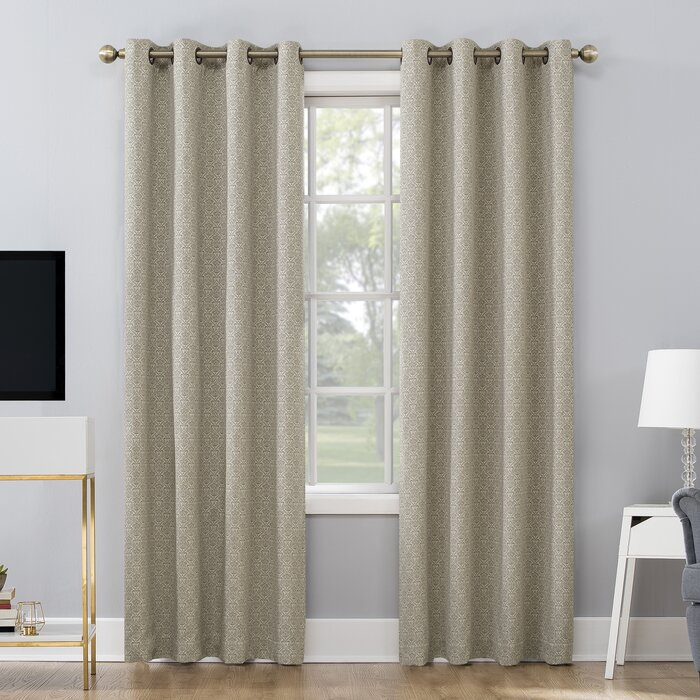 Maritza Jacquard Damask Max Blackout Thermal Grommet Curtain Panels Intended For Duran Thermal Insulated Blackout Grommet Curtain Panels (Image 15 of 25)