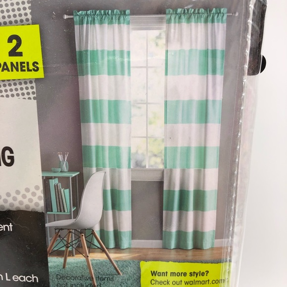 """Mint Green & White Striped 84"""" Darkening Curtains Nwt Intended For Hayden Rod Pocket Blackout Panels (Image 17 of 25)"""