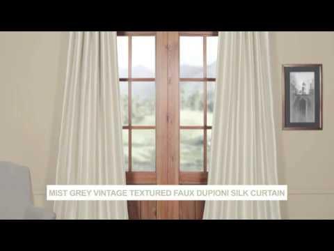 Mist Grey Vintage Textured Faux Dupioni Silk Curtain Inside Vintage Textured Faux Dupioni Silk Curtain Panels (Image 22 of 25)