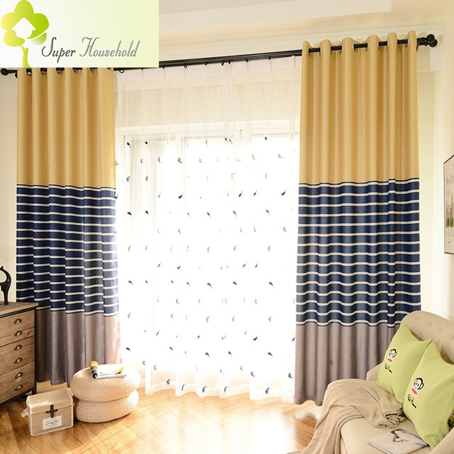 Modern Striped Printed Thick Blackout Curtains For Living Pertaining To Faux Linen Extra Wide Blackout Curtains (View 17 of 25)