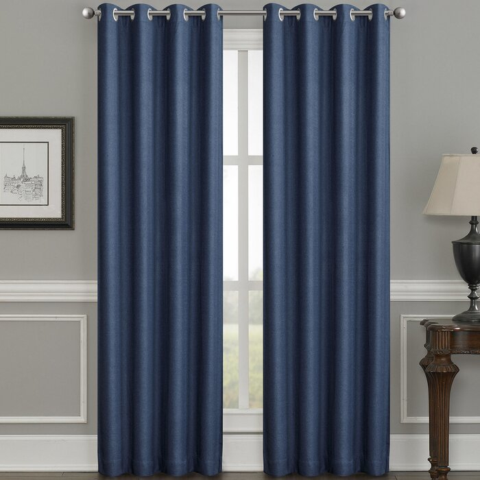 Moravian Weave Solid Room Darkening Thermal Grommet Single Curtain Panel Within Jacob Tab Top Single Curtain Panels (Image 15 of 25)