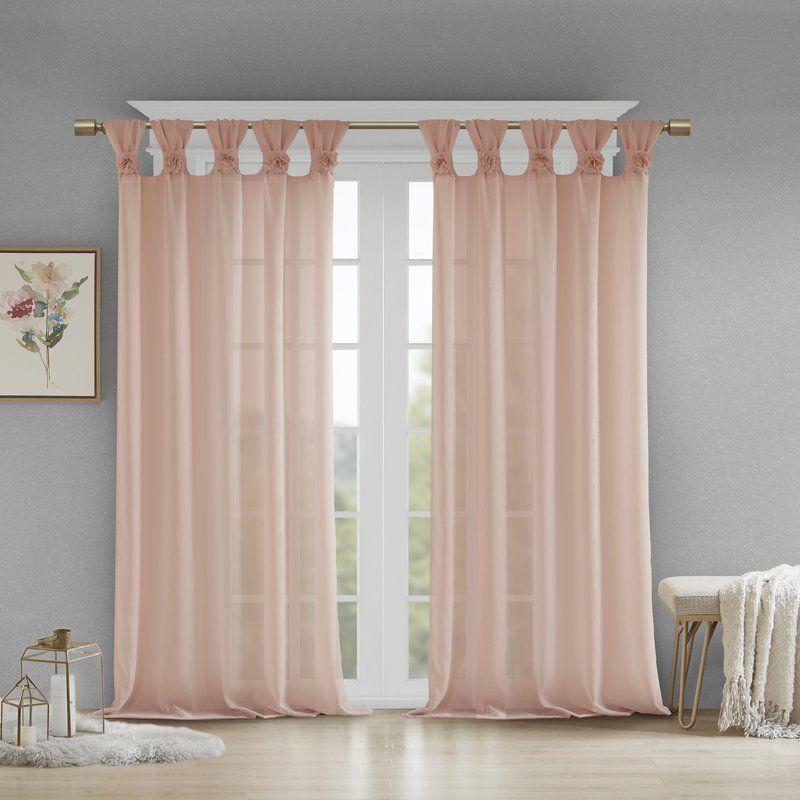 Mysliwiec Floral Twist Solid Semi Sheer Tab Top Single Regarding The Gray Barn Gila Curtain Panel Pairs (Image 14 of 25)