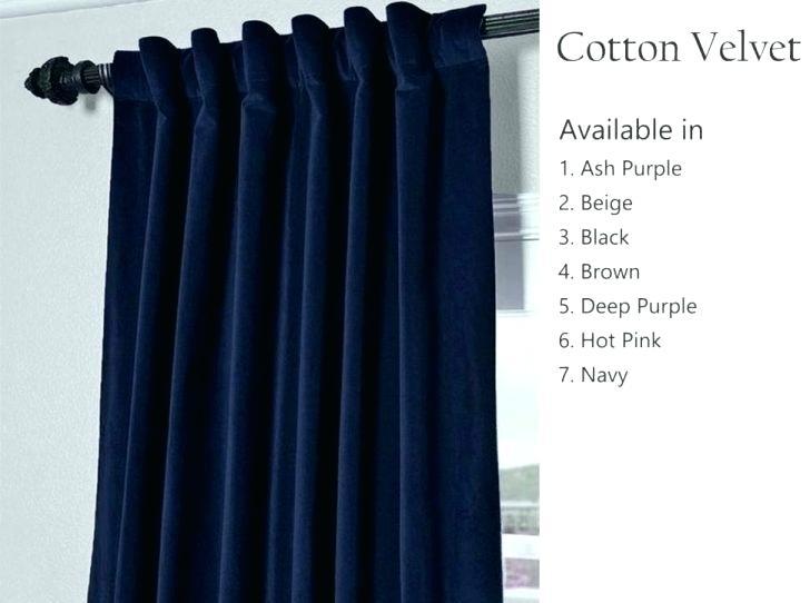 Navy Blue Grommet Curtains – Shroomami Regarding Warm Black Velvet Single Blackout Curtain Panels (Image 11 of 25)