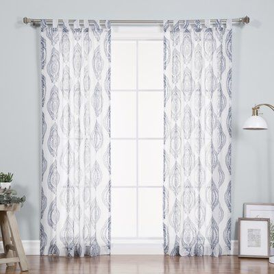 Nellie Medallion Nature/floral Sheer Tab Top Single Curtain With Regard To Jacob Tab Top Single Curtain Panels (Image 16 of 25)