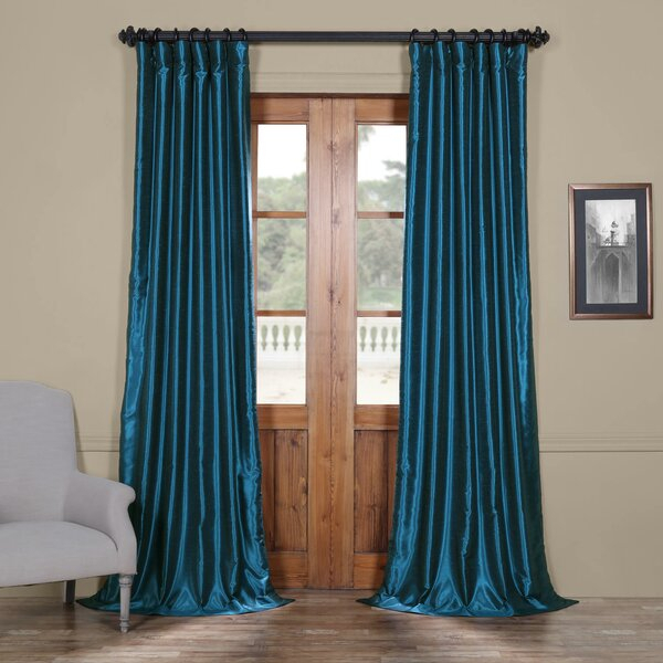 Nguyet Textured Thermal Single Curtain Panel Intended For Heritage Plush Velvet Single Curtain Panels (Image 13 of 25)