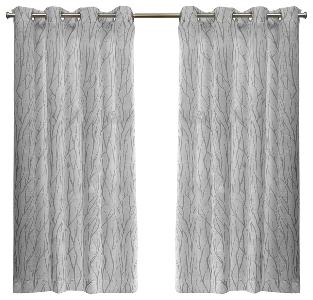 Oakdale Grommet Top Window Curtain Panel Pair, 54X63, Silver Throughout Vertical Colorblock Panama Curtains (Image 20 of 25)