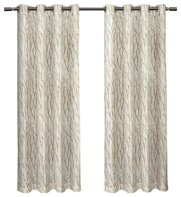 """Oakdale Textured Motif Grommet Top Window Curtain Panel Pair, Taupe, 54"""" X  84"""" Pertaining To Wilshire Burnout Grommet Top Curtain Panel Pairs (Image 17 of 25)"""