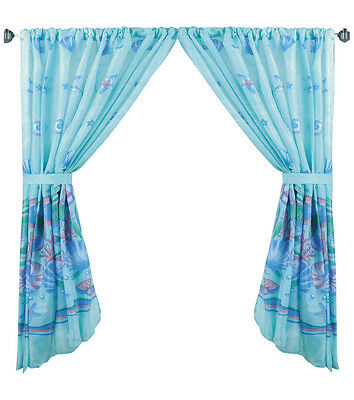 Oceanic Blue Fabric Window Curtain With Tie Backs Fwc Oc | Ebay With Classic Hotel Quality Water Resistant Fabric Curtains Set With Tiebacks (View 2 of 25)