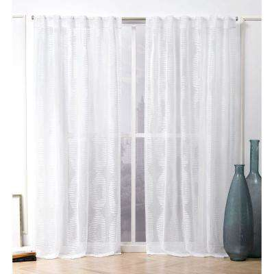 Odense White Sheer Hidden Tab Top Curtain Panel – 54 In. W X 96 In (Image 18 of 25)