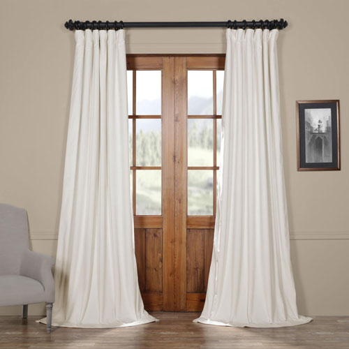 Off White Blackout Velvet Pole Pocket Single Panel Curtain, 50 X 84 For Linen Button Window Curtains Single Panel (View 15 of 25)
