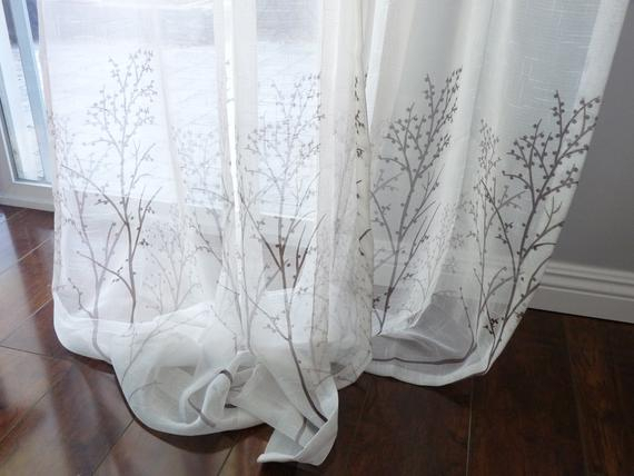 Off White Sheer Curtain Voile Panel With Printed Tree Pattern. One Panel.  Choose Width And Length. Custom Made To Order. Faux Linen Sheer (Image 16 of 25)