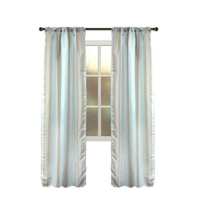 One Allen + Roth Northfield Aqua Stripe Tan Blue Thermal Panel Drape  Curtain 84L With Regard To Valencia Cabana Stripe Indoor/outdoor Curtain Panels (Image 11 of 25)
