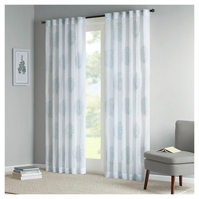 Ophelia Sheer Branch Flocking Curtain Panel Aqua (50X84 In Vina Sheer Bird Single Curtain Panels (Image 12 of 25)