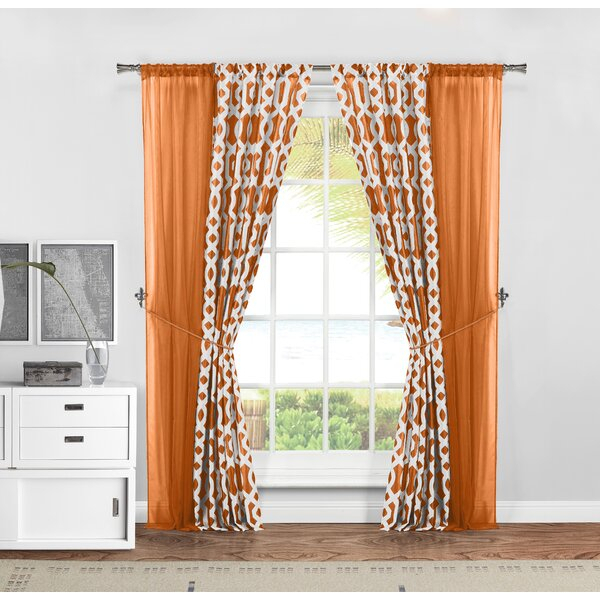 Orange Curtains Set Of 2 | Wayfair Intended For Classic Hotel Quality Water Resistant Fabric Curtains Set With Tiebacks (View 16 of 25)
