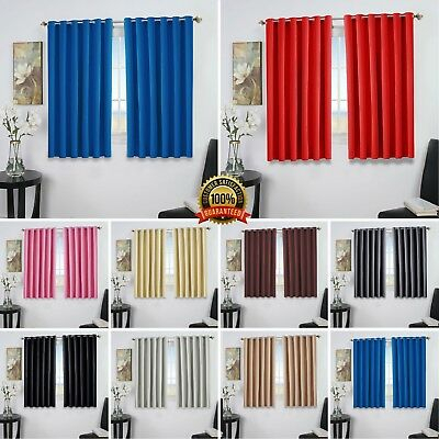 Pair Of Eyelet Thermal Insulated Blackout Curtains For Small Windows Kitchen Intended For Thermal Insulated Blackout Curtain Pairs (View 10 of 25)