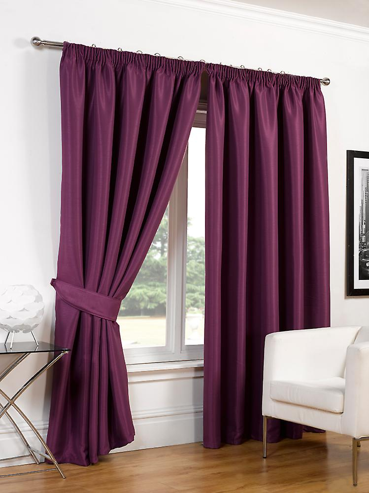 Pair Of Faux Silk Pencil Pleat Blackout Curtains Ready Made Lined Free Tiebacks With Regard To Overseas Faux Silk Blackout Curtain Panel Pairs (View 22 of 25)