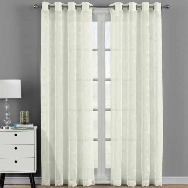 Pair (Set Of 2) Brook Embroidered Grommet Top Sheer Panel Curtain Sets Throughout Velvet Heavyweight Grommet Top Curtain Panel Pairs (Image 16 of 25)