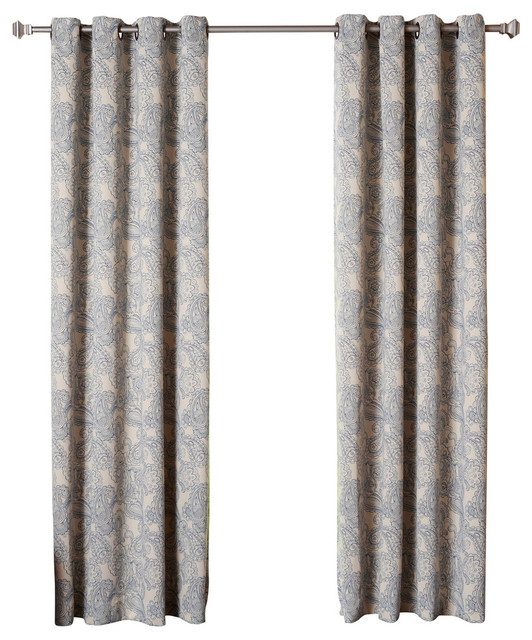 """Paisley Stitch Thermal Insulated Blackout Curtains, Pair, Blue, 84"""" With Thermal Insulated Blackout Curtain Pairs (View 8 of 25)"""
