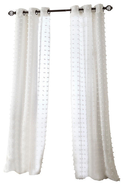 "Payton Grommet Sheer Curtain Panel Pair, White, 37""x84"" Inside Wilshire Burnout Grommet Top Curtain Panel Pairs (Image 19 of 25)"
