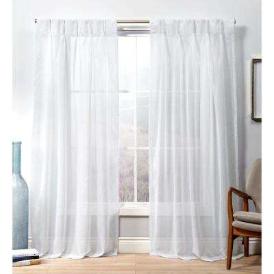 Penny Pp Winter White Sheer Triple Pinch Pleat Top Curtain Panel – 27 In. W  X 96 In (Image 17 of 25)