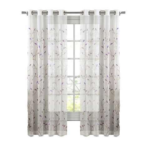 Featured Image of Wavy Leaves Embroidered Sheer Extra Wide Grommet Curtain Panels