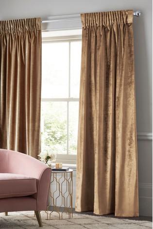 Plush Velvet Pencil Pleat Lined Heavyweight Curtains For Heritage Plush Velvet Curtains (Image 18 of 25)