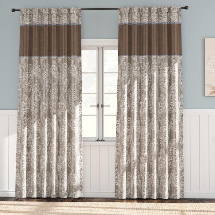 Pokanoket Paisley Room Darkening Rod Pocket Curtain With Regard To Julia Striped Room Darkening Window Curtain Panel Pairs (Image 19 of 25)