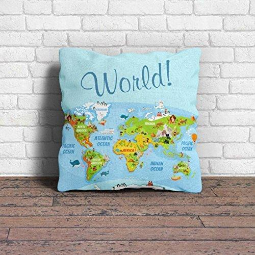 Polyester Blend World Map Printed Cushion Cover & Thermal With Regard To Classic Hotel Quality Water Resistant Fabric Curtains Set With Tiebacks (View 25 of 25)