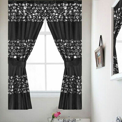 Popular Bath Sinatra Sequin Window Curtain With Tiebacks, Black, 36X54 Inches Pertaining To Classic Hotel Quality Water Resistant Fabric Curtains Set With Tiebacks (View 9 of 25)