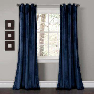 """Prima Velvet Solid Window Panels Navy 84"""" X 38"""" 2 Pc Set 100% Polyester With Regard To Velvet Dream Silver Curtain Panel Pairs (Image 18 of 25)"""