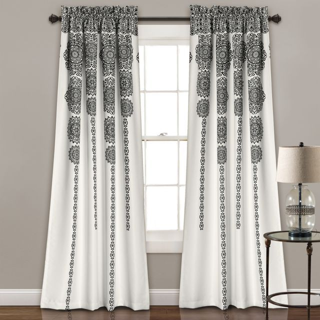 Product Image For Lush Décor Stripe Medallion 84 Inch Room In Wilshire Burnout Grommet Top Curtain Panel Pairs (Image 20 of 25)