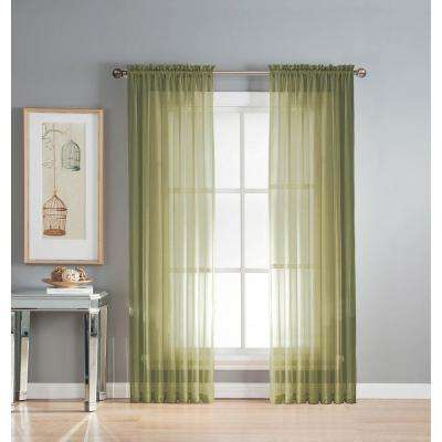 Sage – Sheer Curtains – Curtains & Drapes – The Home Depot Pertaining To Wavy Leaves Embroidered Sheer Extra Wide Grommet Curtain Panels (View 2 of 25)